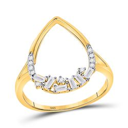 14kt Yellow Gold Womens Round Diamond Scattered Teardrop Ring 1/5 Cttw