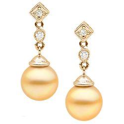 Golden South Sea Pearl and Diamond Royale Dangle Earrings