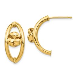 14k Yellow Gold Polished Post Dangle Earrings - 21 mm