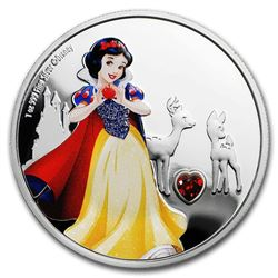 2019 Niue 1 oz Silver $2 Disney Princess Snow White w/Gemstone