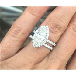 Natural 2.12 CTW Halo Marquise Cut Diamond Ring 14KT White Gold