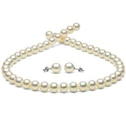 White Hanadama Japanese Akoya Pearl Jewelry Set, 8.5-9.0mm