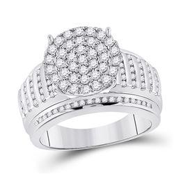 14kt White Gold Round Diamond Cluster Bridal Wedding Engagement Ring 7/8 Cttw
