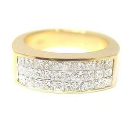Natural 1.82 CTW Mens Princess Cut Diamond Ring 14KT Yellow Gold