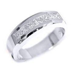 Natural 1.02 CTW Princess Cut Channel Set Diamond Wedding Ring 14KT White Gold