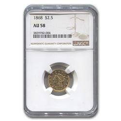 1868 $2.50 Liberty Gold Quarter Eagle AU-58 NGC