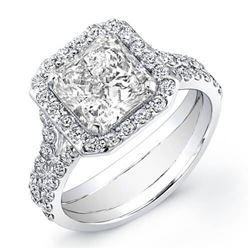 Natural 3.12 CTW Halo Square Radiant Cut Split Shank Diamond Engagement Ring 14KT White Gold