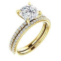 Natural 1.72 CTW Cushion Cut Diamond Engagement Set 14KT Yellow Gold