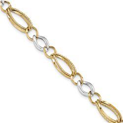 14k Solid Gold Two-tone Textured Link Bracelet