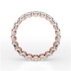 Natural 4.02 CTW U-Setting Emerald Cut Diamond Eternity Ring 18KT Rose Gold