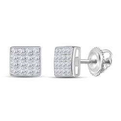 14kt White Gold Womens Princess Diamond Square Earrings 3/8 Cttw