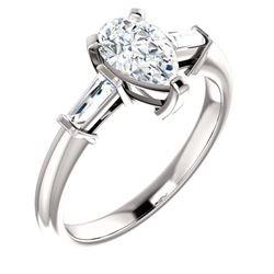 Natural 1.22 CTW Pear Cut & Baguette Cut 3-Stone Diamond Ring 18KT White Gold
