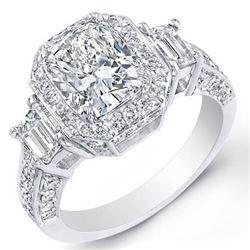 Natural 4.22 CTW Halo Cushion Cut Diamond Ring 18KT White Gold