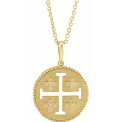 Natural 0.27 CTW Jerusalem Cross Necklace 18KT Yellow Gold
