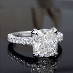 Natural 3.62 CTW Bonny Cushion Cut Diamond Engagement Ring 14KT White Gold