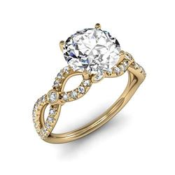 Natural 2.82 CTW Round Brilliant Cut Diamond Twist Shank Engagement Ring 18KT Yellow Gold