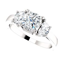 Natural 2.52 CTW Cushion Cut & Half Moons 3-Stone Diamond Ring 18KT White Gold