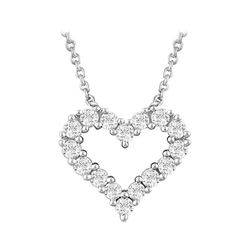 Natural 0.27 CTW Heart Outline Diamond Necklace 14KT White Gold