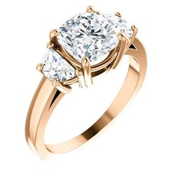 Natural 3.82 CTW Cushion Cut & Half Moons 3-stone Diamond Ring 14KT Rose Gold