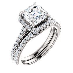 Natural 2.22 CTW Halo Asscher Cut Diamond Engagement Set 18KT White Gold