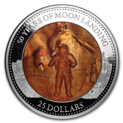 2019 Solomon Islands 5 oz Silver Mother of Pearl Moon Landing