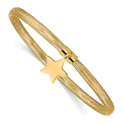14k Yellow Gold Mesh Star Dangle Stretch Bracelet
