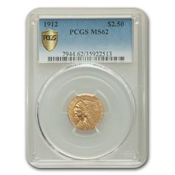 1912 $2.50 Indian Gold Quarter Eagle MS-62 PCGS