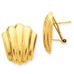 14k Solid Gold Polished Fancy Omega Back Post Earrings (22 mm)