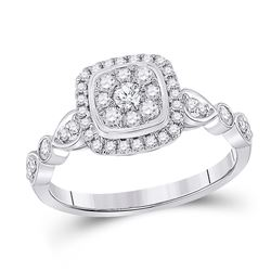 14kt White Gold Womens Round Diamond Square Cluster Ring 1/2 Cttw