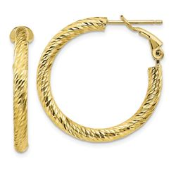 10k Yellow Gold Round Omega Back Hoop Earrings - 20 mm