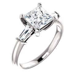 Natural 1.82 CTW Princess Cut & Baguettes 3-Stone Diamond Ring 14KT White Gold