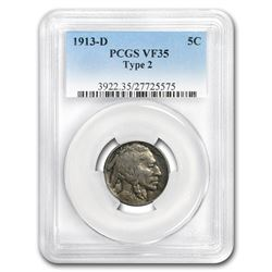 1913-D Buffalo Nickel Type-II VF-35 PCGS