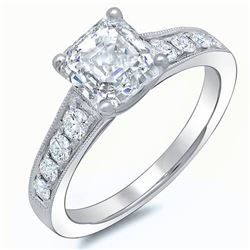 Natural 1.62 CTW Asscher Cut Engagement Ring 18KT White Gold