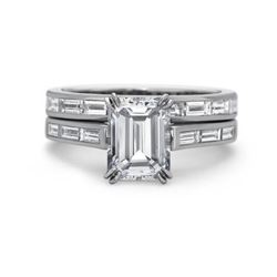 Natural 2.42 CTW Channel Set Baguettes & Emerald Cut Diamond Ring 18KT White Gold