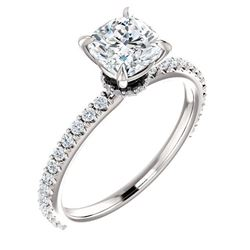 Natural 3.72 CTW Cushion Cut Diamond Engagement Ring 18KT White Gold