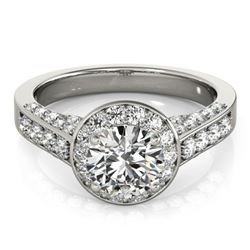 Natural 1.8 ctw Diamond Solitaire Halo Ring 14k White Gold