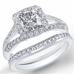 Natural 4.02 CTW Halo Radiant Cut Diamond Split Shank Engagement Set 18KT White Gold