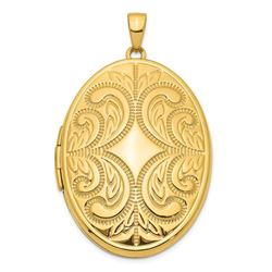 14k Yellow Gold 38 mm Large Oval Family Locket Pendant