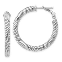 14k White Gold Twisted Round Omega Back Hoop Earrings - 25 mm