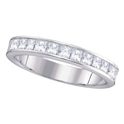 14kt White Gold Womens Machine Set Princess Diamond Wedding Channel Band 1 Cttw