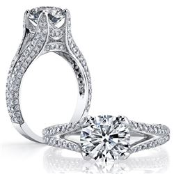 Natural 2.32 CTW Round Cut Split Shank Pave Diamond Ring 14KT White Gold