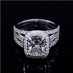 Natural 3.32 CTW Halo Radiant Cut Diamond Engagement Ring 18KT White Gold