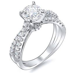 Natural 2.93 CTW Round Cut Cross Over Split Shank Diamond Engagement Ring 14KT White Gold