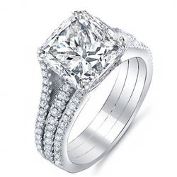 Natural 3.27 CTW Princess Cut 3-Rows Diamond Engagement Ring 18KT White Gold