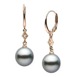Black Tahitian Round Pearl and Diamond Aerie Collection Dangle Earrings