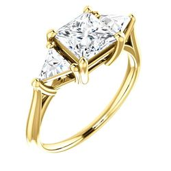 Natural 2.12 CTW Princess & Trillion Cut 3-Stone Diamond Ring 14KT Yellow Gold