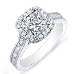 Natural 1.92 CTW Halo Princess Cut Diamond Engagement Ring 18KT White Gold
