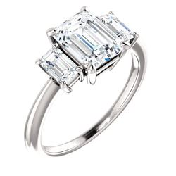 Natural 2.22 CTW 3-Stone Emerald Diamond Engagement Ring 18KT White Gold