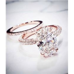 Natural 3.22 CTW Oval Cut Pave Under-Halo Diamond Engagement Ring 14KT Rose Gold