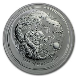 2012 2 oz Silver Lunar Year of the Dragon SII (Light Abrasions)
